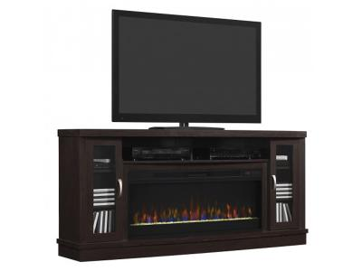 Bell'O Hutchinson TV Stand for TVs up to 80 Oak Expresso Mantle HUCHINSON