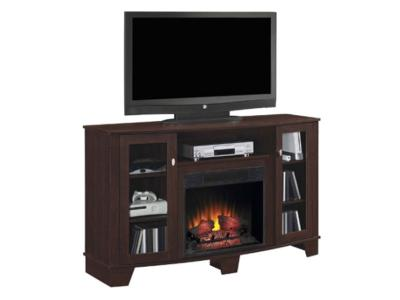 Bell'O Midnight Cherry Finish Media Mantle Adjustable Shelves and Electric Insert (DEL59MAN + DEL59FBX