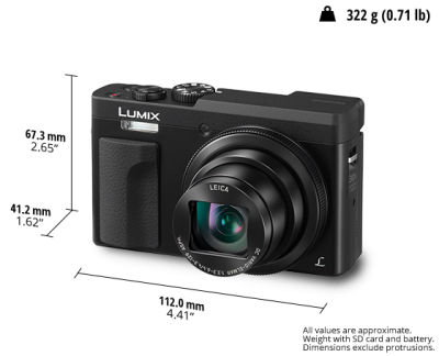 Panasonic 30x Zoom Camera with 4K Selfie / Video Functions - DCZS70K